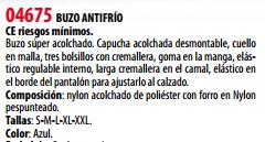 Ficha Buzo Antifrio s04675
