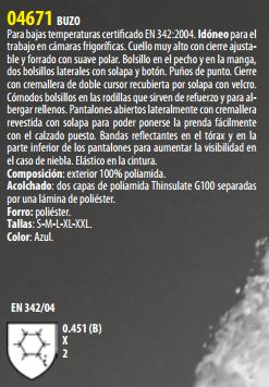 Ficha Buzo Isotermico s04671