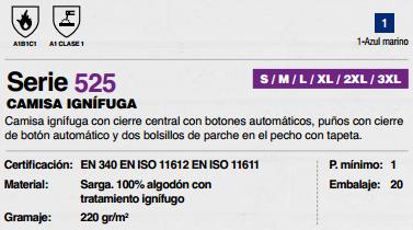 Ficha Camisa Ignifuga v525