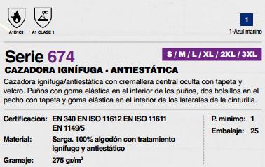 Ficha Cazadora Ignifuga Antiestatica v674