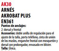 Ficha arnes s AK30