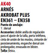 Ficha arnes s AK40