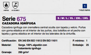 Ficha cazadora Ignifuga v675