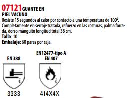 Ficha guante s 07121