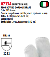 Ficha guante s 07134