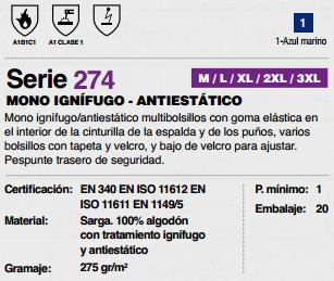 Ficha mono Ignifugo Antiestatico v274