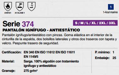 Ficha pantalon Ignifugo Antiestatico v374